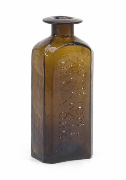 This Rushton & Aspinall (N.Y.) medicine bottle should hammer for $7,500-$15,000.