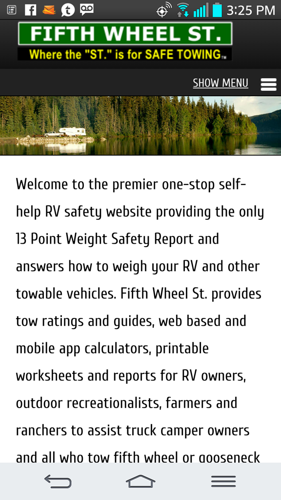 Fifth Wheel St. website viewed on mobile device.