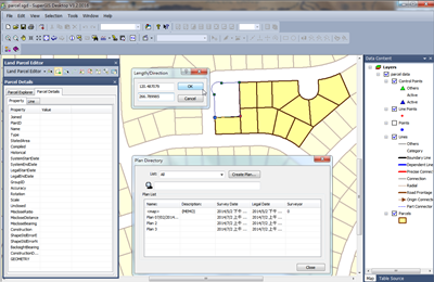 Land Parcel Editor in SuperGIS Desktop Allows to M