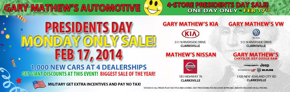 Gary Mathews Automotive Presidents Day Sale