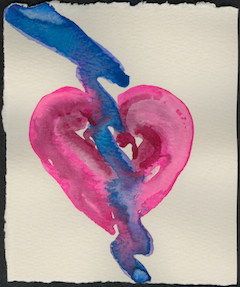 Happy Valentine's Day! Lightning Heart II watercolor © Anne Nordhaus-Bike.