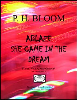 """Ablaze She Came in the Dream"" by P. H. Bloom, for flute, viola, and guitar"