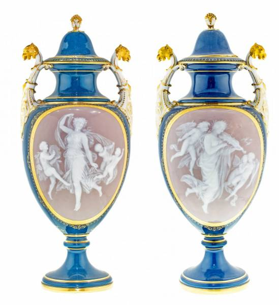 This gorgeous pair of Meissen pate-sur-pate vases will be auctioned Feb. 23-24.