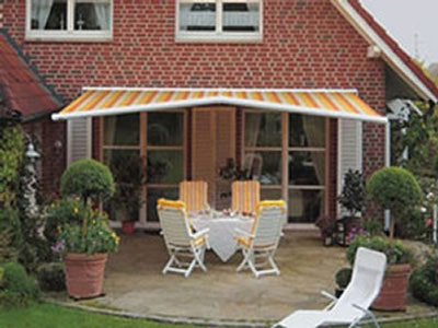 Pavilion Patio Rain Awning in angled position