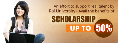 Upto 50 Percent Scholarship at Rai University Online Education
