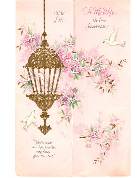 From Viet Nam Wyley Sent Ouida Card for January 17, '64 Wedding Anniversary