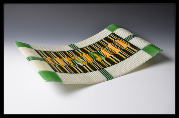 One of glass artist Mark Kinsella's intricately designed platters