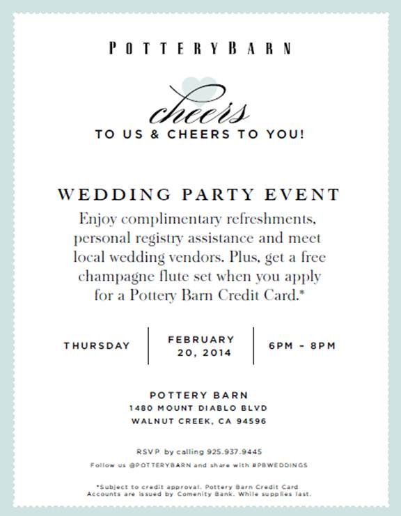 Pottery Barn Wedding Party Event