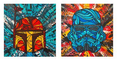 """The Bounty Hunter"" & ""Snow Trooper"" 12x12 acrylic on wood panel"
