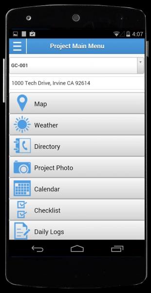 Corecon Mobile for Android Main Menu