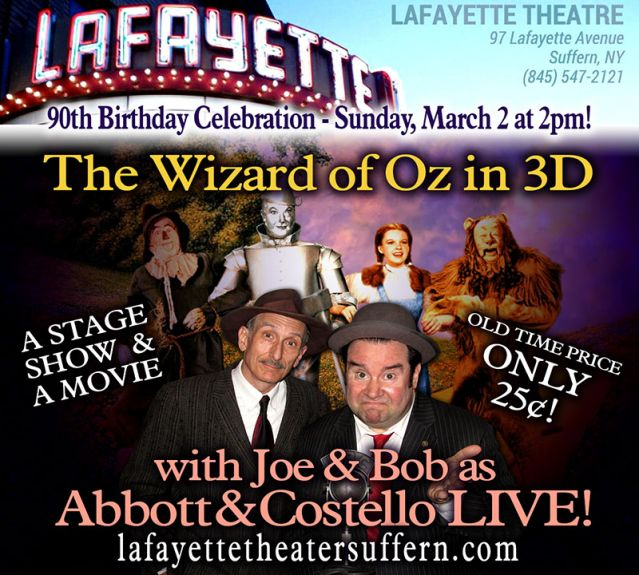See Joe & Bob as Bud & Lou at the Lafayette Theater Sufffern NY, March 2 at 2 pm