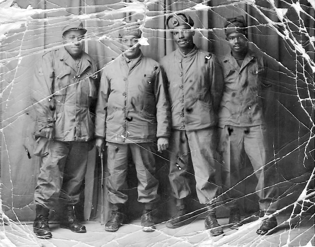 Sp5 Wyley Wright With Soldiers in Korea during Korean War