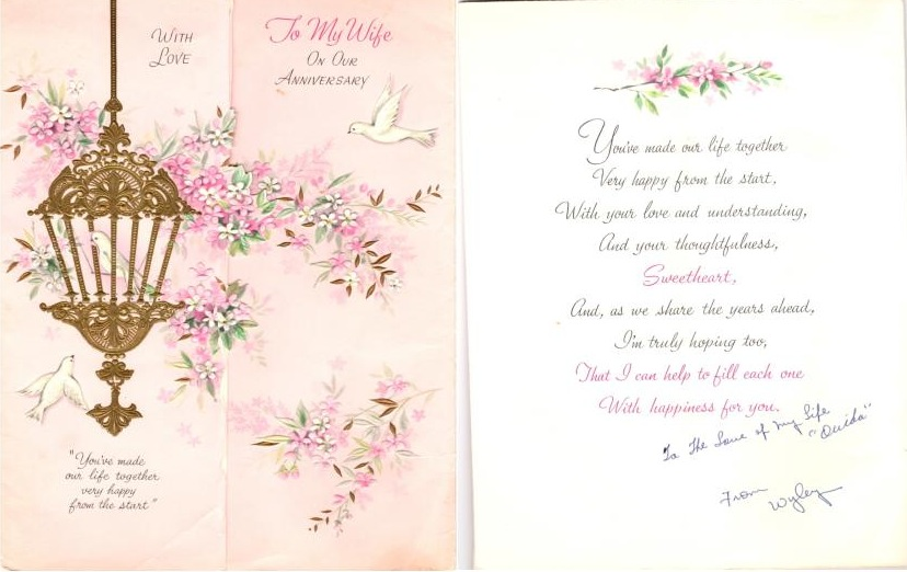 Wyley's Last Anniversary Card to Ouida January 1964