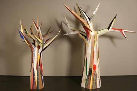 "JOAN BACKES, ""Cardboard Trees"" (2011) cardboard, 7'2""x6'x5'6"" / 5'9""x3'8""x3'5"""