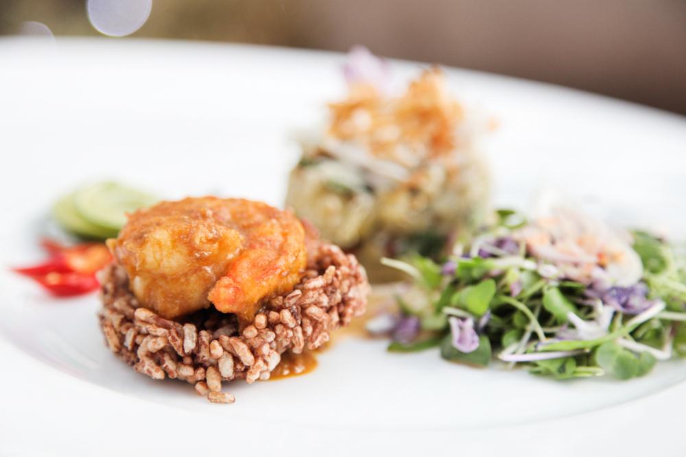 Red Jasmine rice crackers with prawn Prohok Tiks and eggplant salad