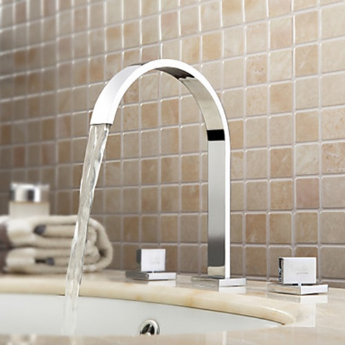 contemporary chrome widespread bathroom sink faucet