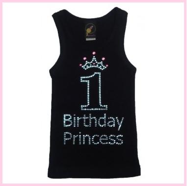 3 Pearls Kids New 1st Birthday Rhinestone Tank Top Design