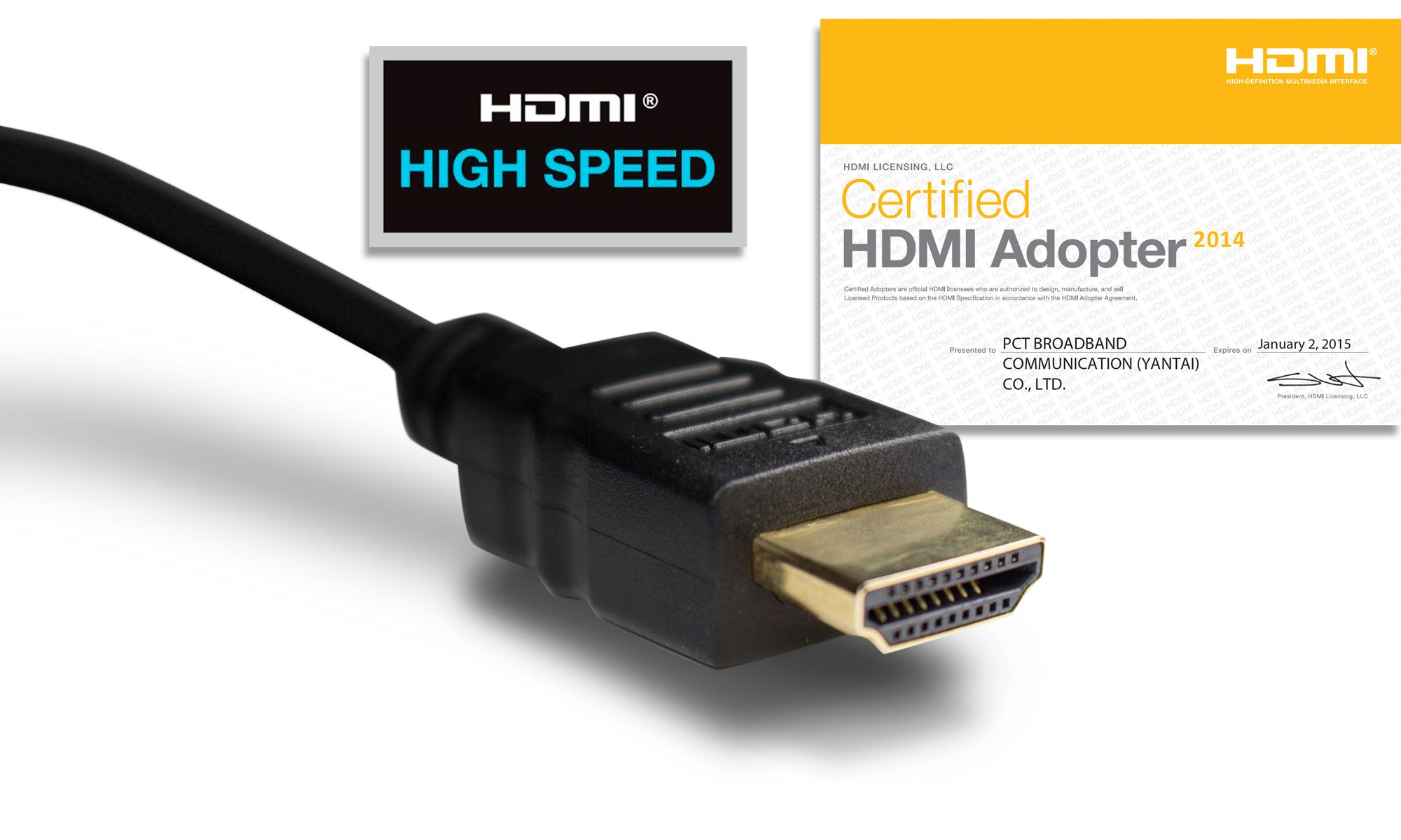 PCT International 28 and 30 AWG High Speed HDMI Cable / Certified HDMI Adopter