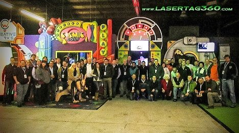 Each EVENT LaserTAG360 attendees take a group photo in Creative Works' Showroom