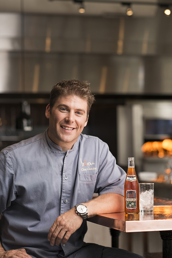 Chef Clay Conley with onli Black Tea Tangerine Ginger