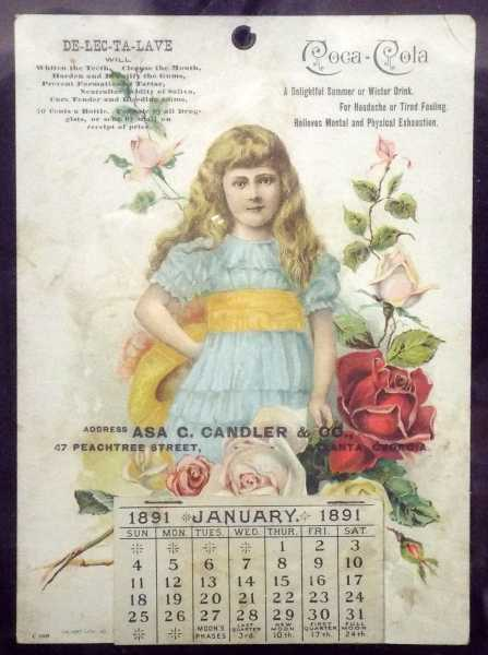 This 1891 Coca-Cola calendar, possibly the only one known, will be sold March 15