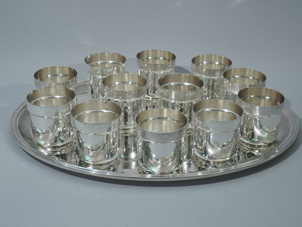 buccellati drink set 12 cups on tray sterling silv
