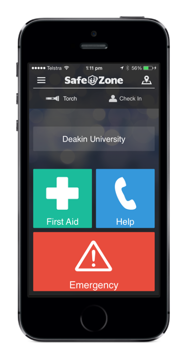 SafeZone app used by students and staff at Deakin University