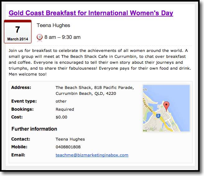Teena Hughes hosts International Womens' Day on the Gold Coast of Australia