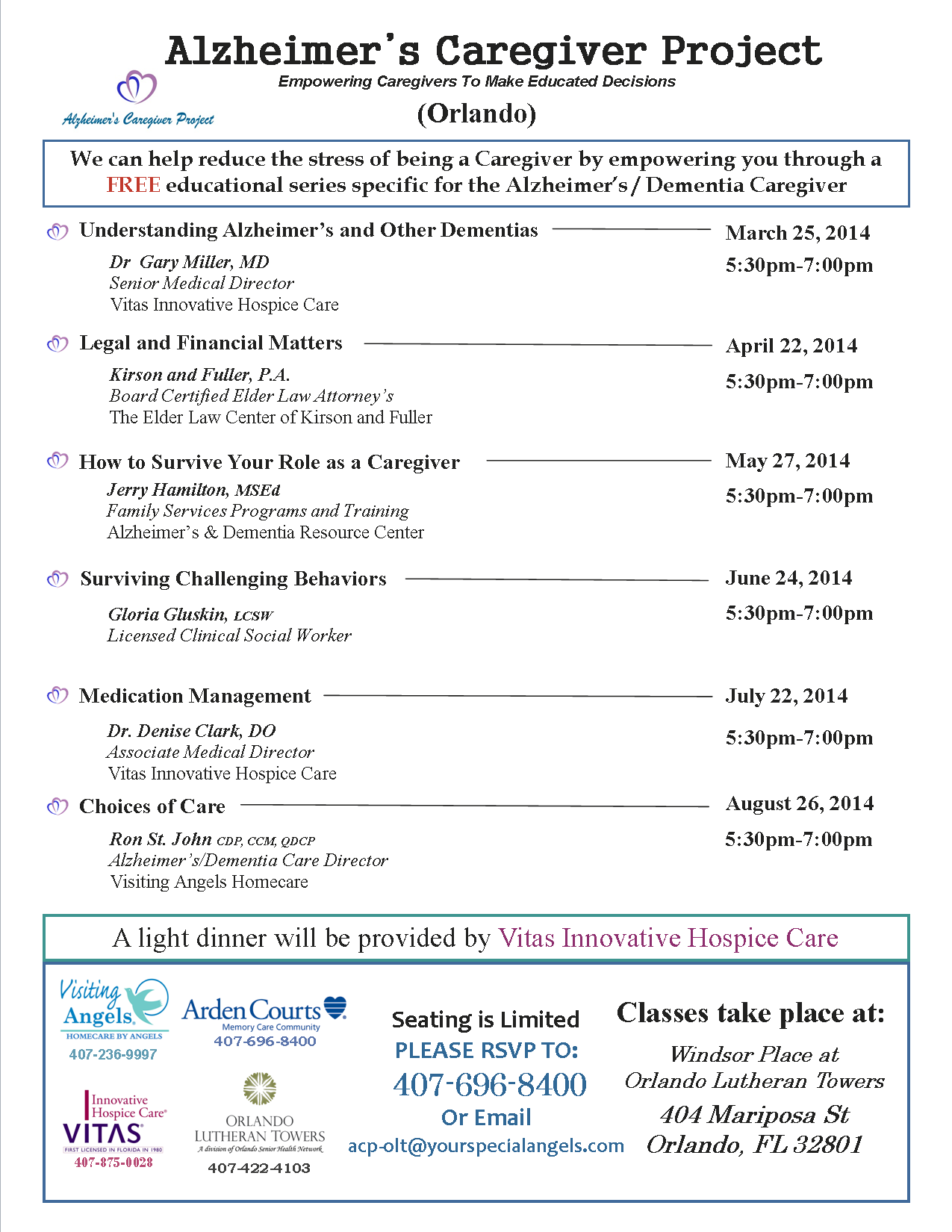 """Alzheimer's Caregiver Project"" Orlando class schedule"