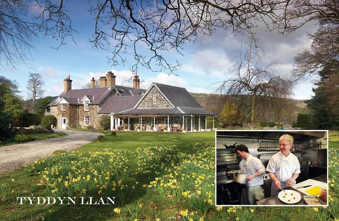 Georgian Tyddyn Llan & inset, chef Bryan Webb