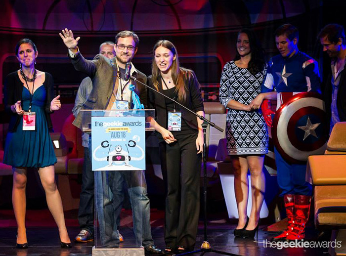 "2013 Best Web Series Geekie Award Winners ""Cosplay Piano"" accept award"
