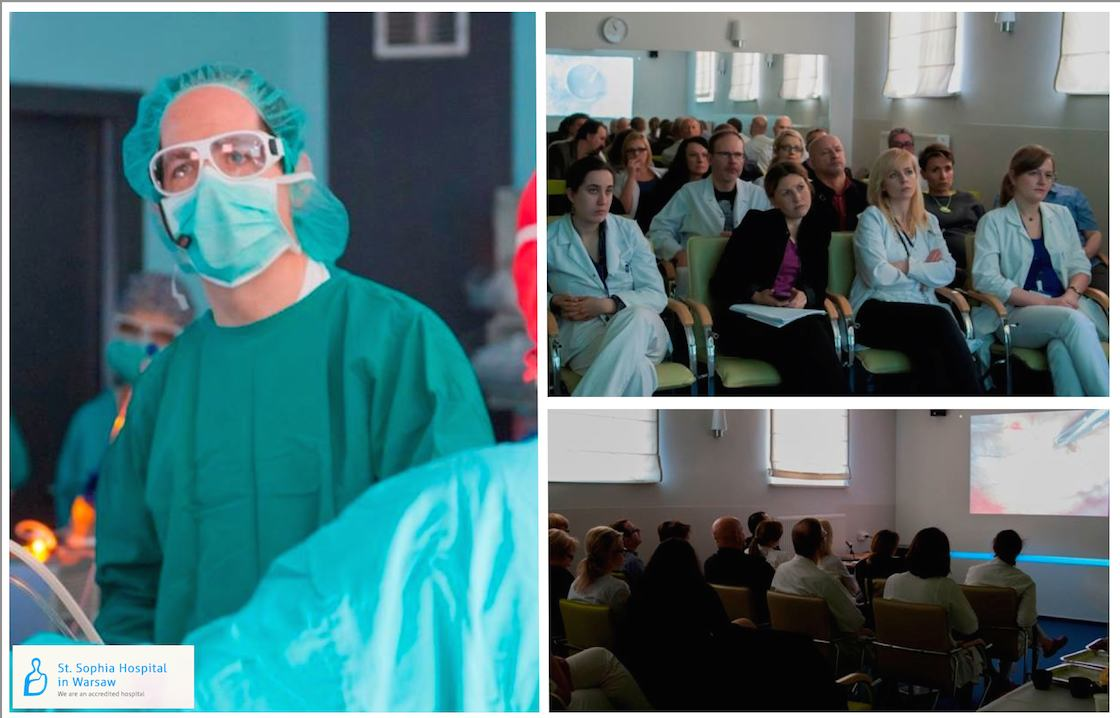 Dr. Michael Randell performs laparoscopic surgery in Poland while surgeons watch