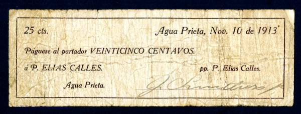This rare Mexican scrip note from Agua Prieta, dated 1913, auctioned for $4,130.