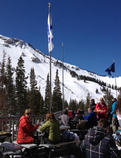 Spring skiing at Alta Ski Area in Alta, Utah USA