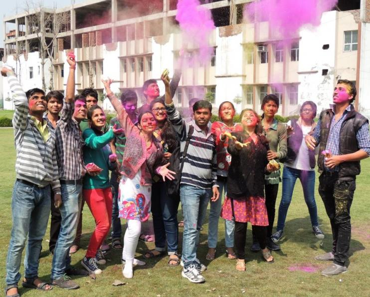 Students of DPGITM Engineering college playing holi at Campus