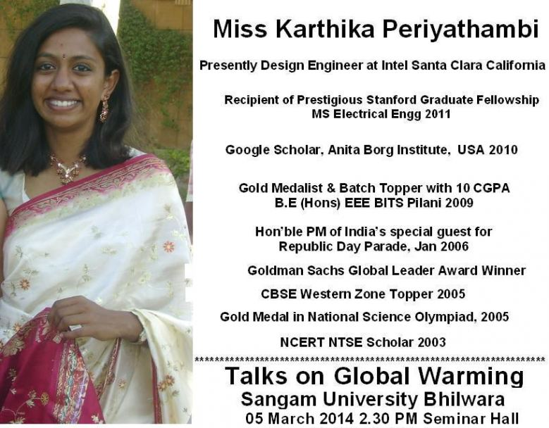 Global Warming Talk by Stanford Alumnus Karthika Periyathambi -Sangam University