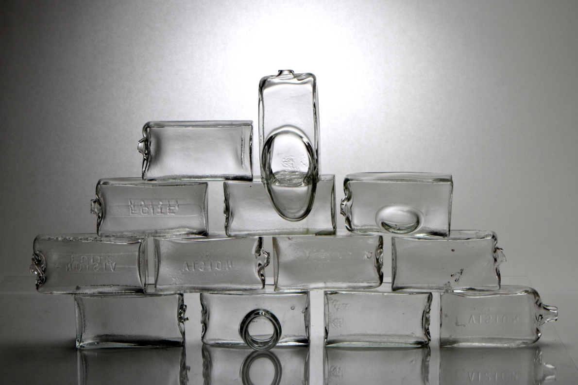 "Building Blocks. Blown Glass. H10""xW4.5""xD3"" each. Photo Ed Kiley"