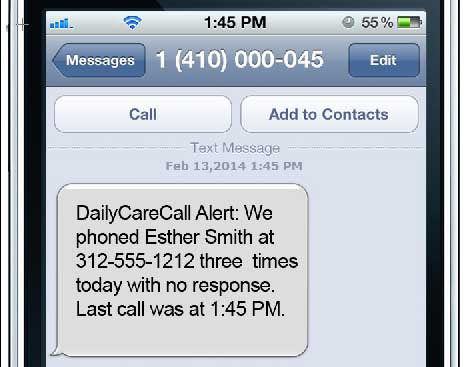Daily Care Call Alert Message