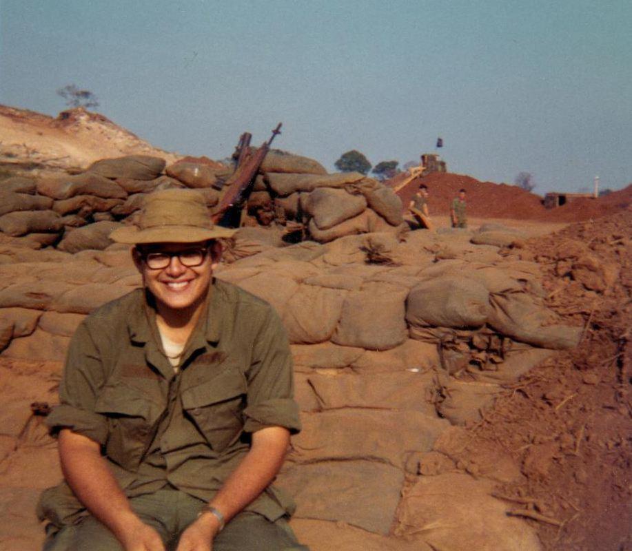 """Jack """"Doc"""" Manick late 1969 sitting on Med Bunker sandbagged"""