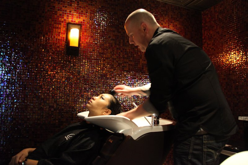 Greg Lee and his guest in the Serenity Suite at G Michael Salon in Indianapolis