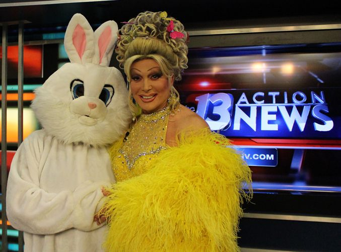Frank Marino and the E Bunny at KNTV Channel 13 in Las Vegas
