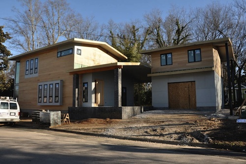 Still under construction, the house recalls Craftsman-style homes in Oakwood.