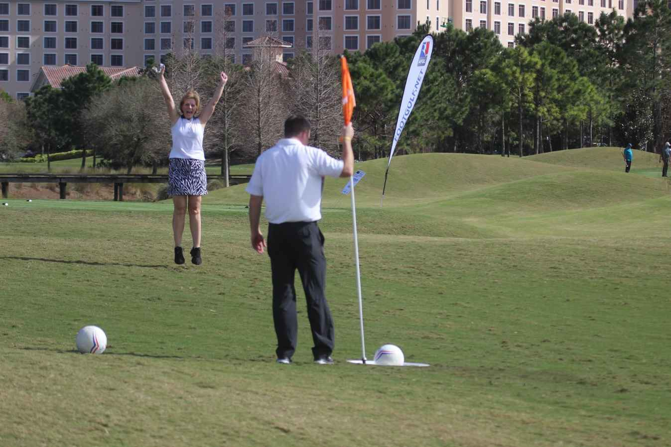 Fox Hills Owner, Sandy Mils playing FootGolf