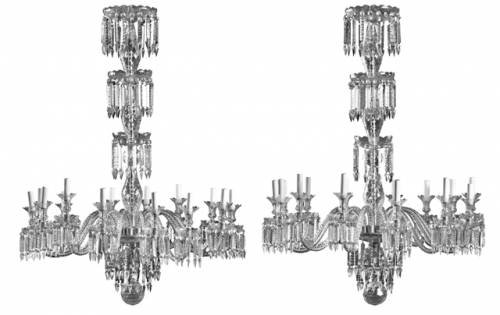 This rare pair of crystal and glass 12-light chandeliers will be sold Apr. 12-13