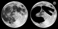 Picture comparing a photograph of the full Moon with cvmoon's Registered™ Logo
