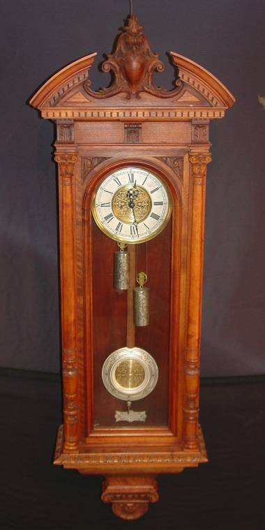 This circa-1870 Gustav Becker Victorian wall clock will be auctioned April 5th.