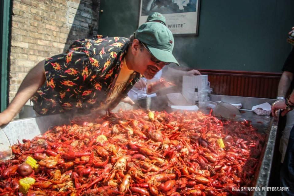 2,250 lbs of Louisiana crawfish seasoned and steaming