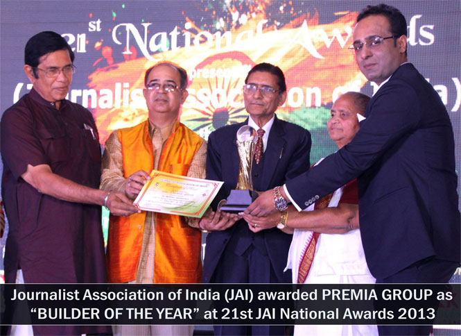Journalist Association of India(JAI) awarded PREMIA GROUP as BUILDER OF THE YEAR