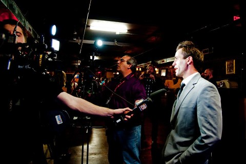 Matt Tunstall addresses the media.
