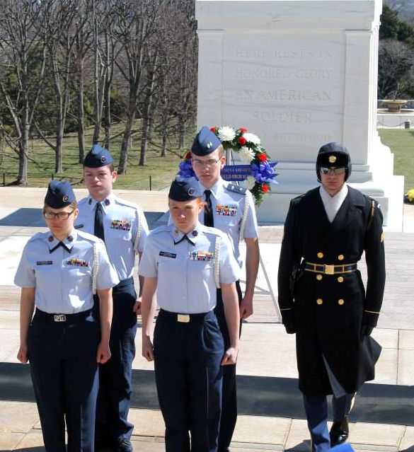 CT Wing Cadets with a Sentinel Honor Guard at the Tomb of the Unkonwn Soldier